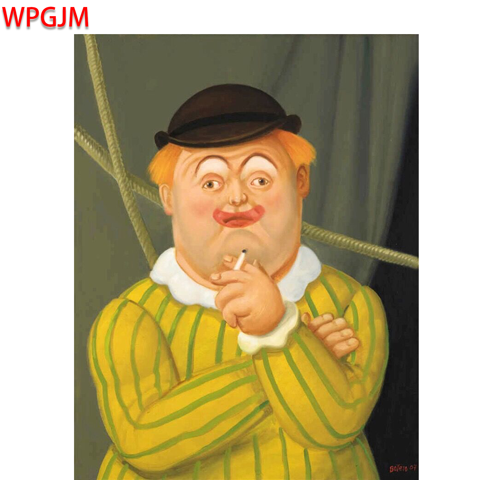 [해외]흡연 광대 캔버스 페인팅 Fernando Botero 휴머 조용한 클래식 캔버스 ArtDecorative Pictures 벽 사진. /Smoking Clown Canvas Painting Fernando BoteroHumor Quiet classical Canv
